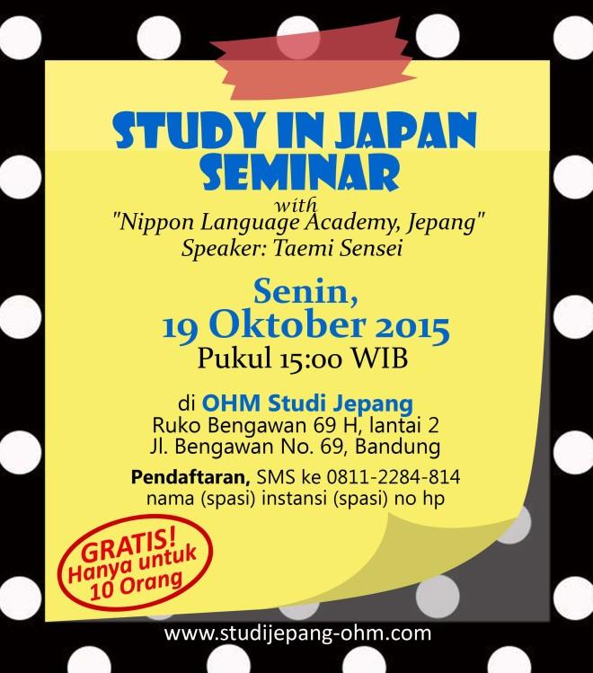 study in japan seminar-NILA-19 Oktober 2015